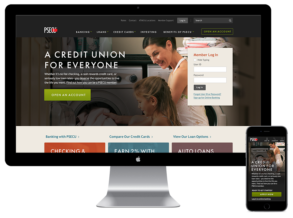 View of the PSECU Homepage on a laptop and mobile phone